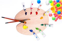 Colorful paints in tubes for drawing. Rainbow, gouache for creativity Stock Photo