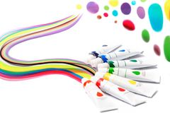 Colorful paints in tubes for drawing, rainbow. Colorful paints for drawing, rainbow, gouache for creativity Royalty Free Stock Image