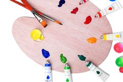 Colorful paints in tubes for drawing, rainbow, gouache for creativity. Colorful paints for drawing, rainbow, gouache for creativity Stock Image