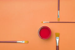 Colorful paintsin tin Stock Photo