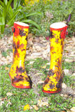 Colorful Pair of Wellies In Garden Royalty Free Stock Photography