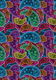 Colorful Paisley Background_eps. Illustration of colorful paisley on blue background Royalty Free Stock Photo