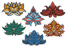 Colorful paisley flowers with indian motifs Royalty Free Stock Photos
