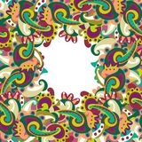 Colorful paisley frame Royalty Free Stock Photos