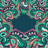 Colorful paisley frame Stock Photo