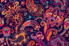 Colorful Paisley pattern for textile, cover, wrapping paper, web. Ethnic vector wallpaper with decorative elements. Colorful Paisley pattern for textile, cover Stock Photos
