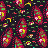 Colorful Paisley seamless pattern in dark background and seamles Stock Photos