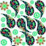 Colorful Paisley seamless pattern in red, green,  bluecolors and Stock Image