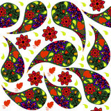 Colorful Paisley seamless pattern and seamless pattern in swatch Royalty Free Stock Photography