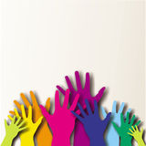 Colorful paited hands. Colorful painted hands hold together Stock Photo