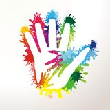 Colorful paited hands. Colorful painted hands hold together Royalty Free Stock Photos
