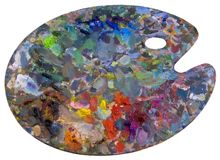 Colorful palette. Wooden art palette with paint Stock Images