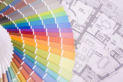 Colorful palette over a blueprint Royalty Free Stock Photography
