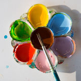 Colorful palette. With paint brush Royalty Free Stock Images