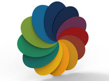 13 colorful palette spiral. 3D rendered illustration of a colorful spiral pallet with 13 colors. The composition is  on a white background with shadows Royalty Free Stock Image