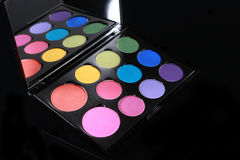 Colorful Palette of Various Eyeshadows on Black Background Stock Images