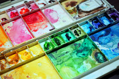 Colorful Palette. A very colorful and messy palette- a sign of lots of love Royalty Free Stock Images