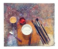 Colorful palette on a white background royalty free stock images