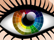 Colorful palette woman eye Stock Photos