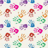 Colorful palm prints in bright colors. Seamless background. Vector illustration Royalty Free Stock Images