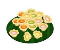 Colorful Palm Sugar in Crispy Golden Pots stock illustration