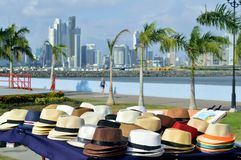 Colorful panama Hats. Located in old quarter, with an incredible backdrop of the city Royalty Free Stock Photography