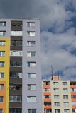 Colorful panel houses. Two colorful panelhouses - ordinaly residence of many people. Picture taken in Bratislava, Slovakia Stock Photography