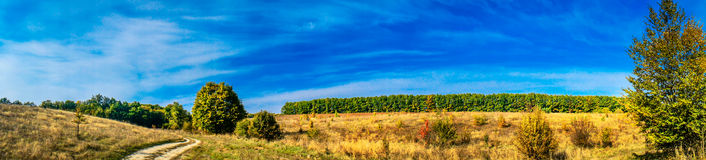 Colorful panorama of autumn, the magnificent scenery. Royalty Free Stock Photography