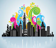 Colorful panorama city. Image for design Royalty Free Stock Image