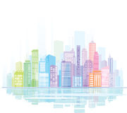 Colorful panorama of city. Royalty Free Stock Photos