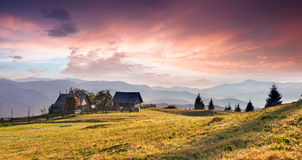Colorful panorama of mountains village Stock Image