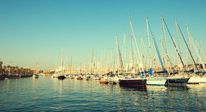 Colorful panorama of Port Vell Stock Photo