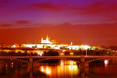 Colorful panorama of Prague at night, Czech Republic Royalty Free Stock Images