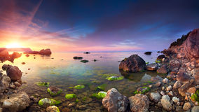 Colorful panorama of the sunset Stock Image