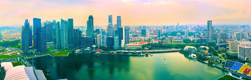 Colorful panorama of Singapore Stock Photography