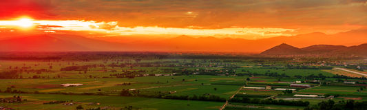 Colorful panorama sunset Stock Photography