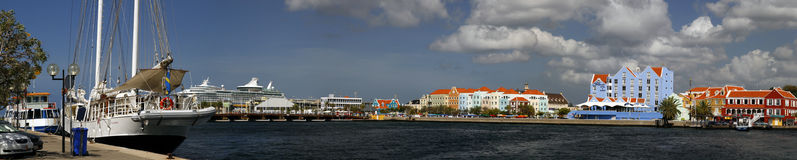 Colorful Panoramic of Buidings in Curacao Stock Photos