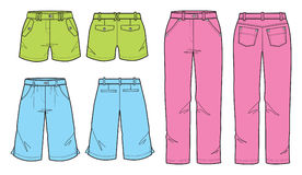 Colorful pant for young women and girl vector illustration