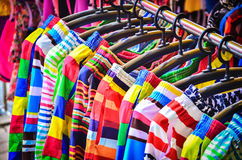Colorful Pants hanging on a rack. Royalty Free Stock Photography