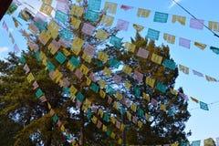 Papel Picado in San Cristobal de las Casas Chiapas Mexico. Colorful papel picado for Dia de los muertos, the typical decoration in mexico to celebrate this day royalty free stock photography