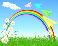 Colorful paper airplane and rainbow Royalty Free Stock Photo