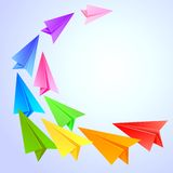 Colorful paper airplanes Royalty Free Stock Images
