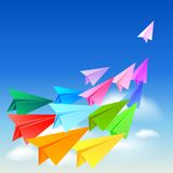 Colorful paper airplanes. Flying in the sky Royalty Free Stock Images