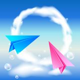 Colorful paper airplanes. Flying in the sky Royalty Free Stock Photography