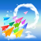 Colorful paper airplanes. Flying in the sky Stock Photos