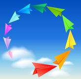 Colorful paper airplanes. Flying in the sky Stock Photography