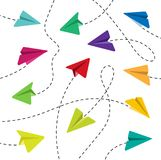 Colorful paper airplanes. Paper airplanes. Colorful paper airplanes. Paper airplanes with dashed lines. Paper airplanes with dashed lines on a white background vector illustration