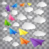 Colorful paper airplanes with white clouds with shadows. Vibrant colorful paper airplanes with white clouds with shadows on trendy transparent chequered stock illustration