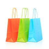 Colorful paper bags, isolated on white Stock Photos