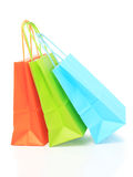 Colorful paper bags, isolated on white Royalty Free Stock Images